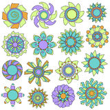 Colorful flower ornament collection Royalty Free Stock Photography