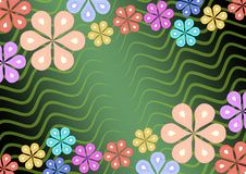 Colorful flower ornament on green wavy background, mirror diagonal floral patterns, suitable for invitation, garden party Royalty Free Stock Photos