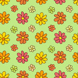 Colorful Flower Pattern on Green Background Royalty Free Stock Image