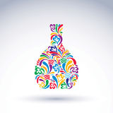 Colorful flower-patterned bottle, alcohol and relaxation concept Royalty Free Stock Image