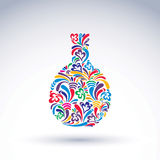 Colorful flower-patterned bottle, alcohol and relaxation concept Royalty Free Stock Images