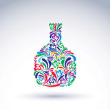 Colorful flower-patterned bottle, alcohol and relaxation concept Royalty Free Stock Photography