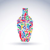 Colorful flower-patterned bottle, alcohol and relaxation concept Stock Image