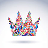 Colorful flower-patterned crown, coronation  design elemen. T. Classic royal accessory decorated with abstract flower patern Royalty Free Stock Image