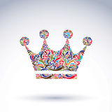 Colorful flower-patterned crown, coronation  design elemen. T. Classic royal accessory decorated with abstract flower pattern Royalty Free Stock Photos