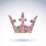 Colorful flower-patterned crown, coronation design element. Clas. Sic royal accessory decorated with abstract flowervector pattern Royalty Free Stock Image