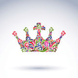 Colorful flower-patterned crown, coronation design element. Clas. Sic royal accessory decorated with abstract flowervector pattern Royalty Free Stock Images
