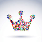 Colorful flower-patterned crown, coronation design element. Clas. Sic royal accessory decorated with abstract flower vector pattern Stock Photo