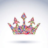 Colorful flower-patterned crown, coronation design element. Stock Photo