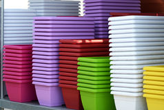 Colorful Flower Plant Pots Piled on the Table Stock Images