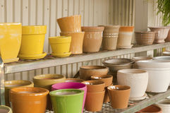 Colorful flower pots Stock Images