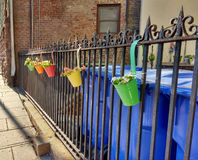 Colorful Flower Pots Hanging on a Fence. Green, yellow, red, orange, and aqua planters hang from a wrought iron fence along a public sidewalk. These cute and Stock Photos