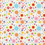 Colorful flower seamless pattern vector on a white background Royalty Free Stock Photography