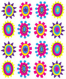 Colorful Flower Shapes Background. Colorful retro shapes on white Royalty Free Stock Photo