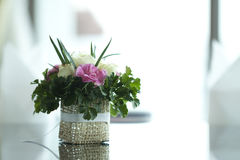Colorful flower on table. With blur background Stock Photos