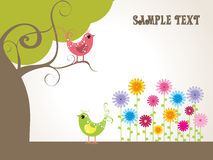Colorful flower with tree, vector illustration Royalty Free Stock Photos