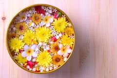 Colorful flower in water bowls decorating on wood background for Songkran Festival or Thai New Year.  Royalty Free Stock Image