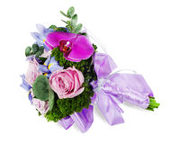 Colorful flower wedding bouquet for bride from roses, iris and Royalty Free Stock Photos