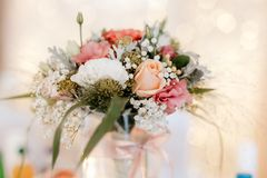 Colorful flower wedding center-piece decoration royalty free stock image