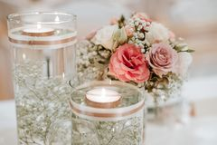 Colorful flower wedding center-piece decoration stock photography
