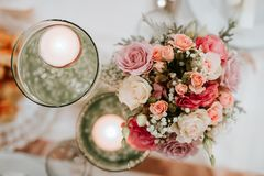Colorful flower wedding center-piece decoration royalty free stock photo