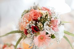 Colorful flower wedding center-piece decoration royalty free stock images