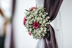 Colorful flower wedding wall decoration stock photos