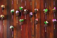 Colorful flower on wooden background Stock Photo