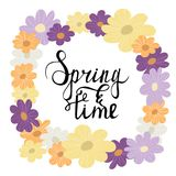 Colorful flower wreath spring lettering  illustration. Colorful flower wreath card with spring time lettering inscription. Cartoon  illustration Royalty Free Stock Images