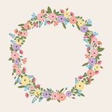 Colorful Flower Wreath - Spring Time Illustration - vector eps10. Pink, rose, yellow, blue Royalty Free Stock Images