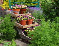 Colorful Flowerpot display in an English Garden Stock Photo
