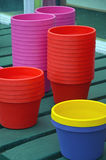 Colorful flowerpots Royalty Free Stock Image
