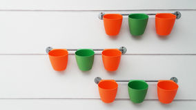 Colorful flowerpots without flowers Stock Images