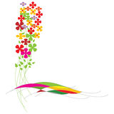 Colorful Flowers. And extra white area to add text or other images. can be used as border - illustrated  art work Royalty Free Stock Image