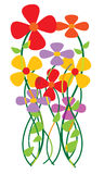 Colorful Flowers. Illustrated vector art work Stock Photo