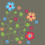 Colorful flowers. Dark background with colorful flowers Vector Illustration