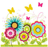 Colorful  flowers. And butterfly illustration background Royalty Free Stock Photos