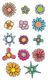 Colorful flowers. Set of hand drawn colorful flowers Stock Photos