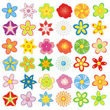 Colorful flowers 36 pieces pack Stock Images
