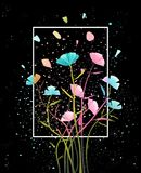 Colorful Flowers Abstract Background. Flower arrangement on black with petals background for lettering. Vector design Stock Photos