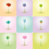 Colorful Flowers, abstract Icons for background Royalty Free Stock Photo
