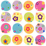 Colorful flowers abstract rounded background Royalty Free Stock Images