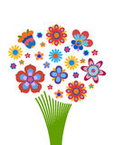 Colorful flowers arrangement in the form of a bouquet. Naive style colorful flowers arrangement in the form of a bouquet stock illustration