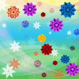 Colorful Flowers Background Means Floral Growth And Beach Stock Photos