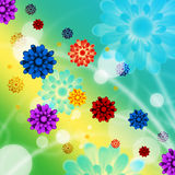 Colorful Flowers Background Shows Pretty Garden And Beach Royalty Free Stock Photos