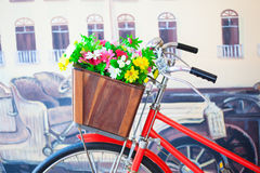 Colorful flowers on the basket Royalty Free Stock Photography