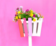 Colorful flowers on the basket Stock Photo