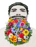 Colorful Flowers Bearded Man Stock Photography
