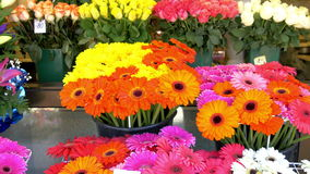 Colorful flowers being displayed on the flower shop GH4 4K UHD. Colorful flowers being displayed on the flower shop. There are tulips daisies and sunflowers all stock footage