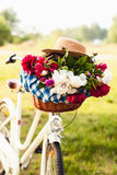 Colorful flowers in bicycle basket Royalty Free Stock Images
